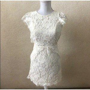 Gypsy & Gold Dress White Lace Short Sleeve Mini